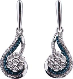 _WHITE GOLD BLUE & WHITE DIAMOND EARRINGS WAS: $500