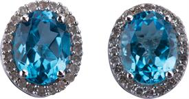 _WHITE GOLD BLUE TOPAZ AND DIAMOND EARRINGS WAS: $300