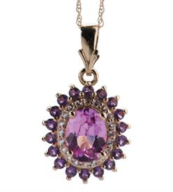 _WHITE GOLD NECKLACE WITH AMETHYST PINK SAPPHIRE WAS: $425