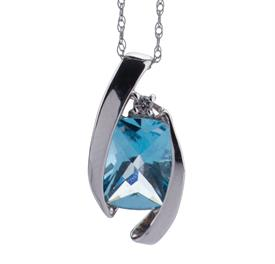 _14K WHITE GOLD BLUE TOPAZ WITH DIAMOND NECKLACE WAS: $300