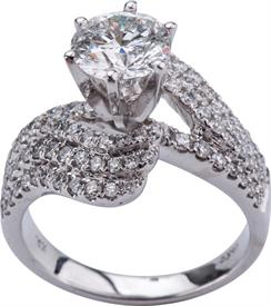 _14K WHITE GOLD RING 1.52 CARAT SI3-H WAS: $9899