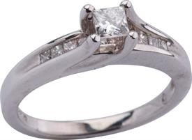 _14K WHITE GOLD RING .70 CARAT DIAMOND WAS: $1219