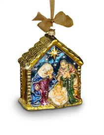 -HOLY FAMILY GLASS ORNAMENT IN JEWEL. HAND BLOWN, HAND PAINTED, AND DECORATED WITH SWAROVSKI CRYSTALS.