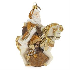 "-GOLDEN SANTA ON HORSE GLASS ORNAMENT. 5"" WIDE, 3"" DEEP, 6"" TALL"