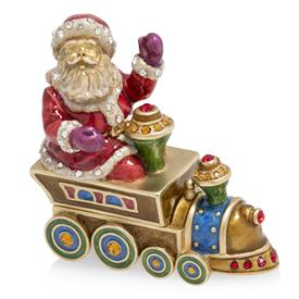 "-2019 ANNUAL BOX. SANTA ON TRAIN. 3"" WIDE, 1.5"" DEEP, 2.75"" TALL"