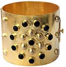 ,_MANDALA CUFF IN 14K GOLD PLATE & ONYX
