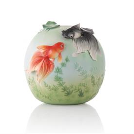 "-,'GREAT HAPPINESS' GOLDFISH VASE. 9.2"" TALL, 8.8"" WIDE"
