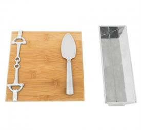 "-EQUESTRIAN BAMBOO CHEESE SET. INCLUDES 8.25"" LONG, 8"" WIDE BOARD, 9"" LONG, 3"" WIDE STAND, AND 7"" LONG CHEESE KNIFE"