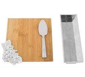 "-BAMBOO CHEESE SET. INCLUDES 8.5"" LONG, 8"" WIDE BOARD, 9"" LONG, 3"" WIDE STAND, & 7"" CHEESE KNIFE"