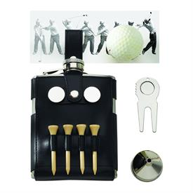 -BLACK LEATHERETTE FLASK WITH GOLFER'S TOOLS. INCLUDES, FLASK, SHEATH, 4 TEES, 2 BALL MARKERS, & A DIVOT TOOL.