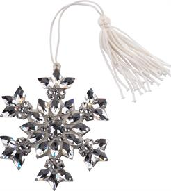 "_SWAROVSKI BEJEWELED SNOWFLAKE ORNAMENT HAND ENAMELED AND STONES SET BY HAND 3.5"" - ABSOLUTELY OUTSTANDING ITEM!"