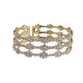 -YELLOW GOLD & CRYSTAL 'DIAMOND' PATTERN BRACELET