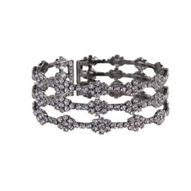 -RHODIUM & CRYSTAL 'DIAMOND' PATTERN BRACELET