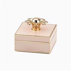 "-BLUSH PINK & GOLD JEWELRY BOX. 3"" WIDE, 1.5"" TALL. GOLDPLATED STAMPED STEEL & EPOXY COLOR. BREAKAGE REPLACEMENT AVAILABLE."