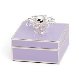"-LILAC & SILVER JEWELRY BOX. 3.25"" WIDE, 1.5"" TALL. SILVERPLATED STAMPED STEEL & EPOXY COLOR. BREAKAGE REPLACEMENT AVAILABLE."