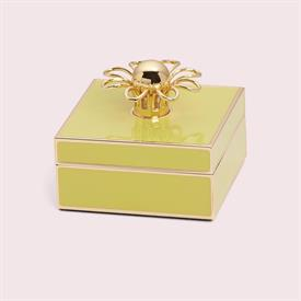 "-YELLOW & GOLD JEWELRY BOX. 3.25"" WIDE, 1.5"" TALL. GOLDPLATED STAMPED STEEL & EPOXY COLOR. BREAKAGE REPLACEMENT AVAILABLE."