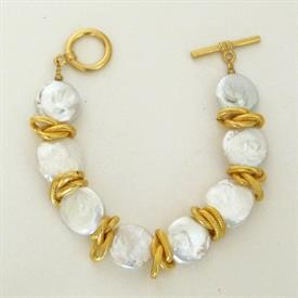 ,-FRESHWATER PEARL & GOLD TOGGLE BRACELET