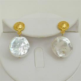 -FRESHWATER COIN PEARL & HANDCAST GOLD DANGLE EARRINGS