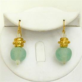 -AQUA SEA GLASS & HANDCAST GOLD EARRINGS