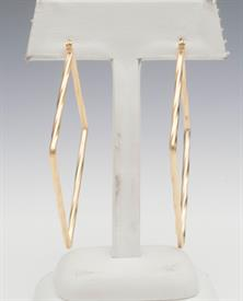 -GOLD TWISTED SQUARE HOOP EARRINGS