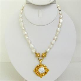 ,-PEARL STRAND WITH HANDCAST GOLD & PEARL PENDANT NECKLACE
