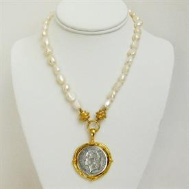 -SILVER COIN IN HANDCAST GOLD SETTING ON FRESHWATER PEARL STRAND NECKLACE