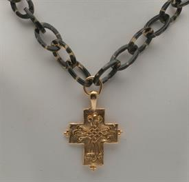 ,-HANDCAST GOLD CROSS ON TORTOISE SHELL CHAIN