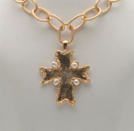 -HANDCAST GOLD & FRESHWATER PEARL CROSS ON LARGE GOLD CHAIN NECKLACE