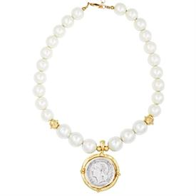 -SILVER COIN IN HANDCAST GOLD FRAME ON GLASS PEARL NECKLACE