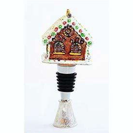 -GINGERBREAD HOUSE BOTTLE STOPPER WITH STAND.