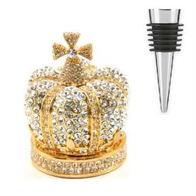 _CLEAR CRYSTAL CROWN BOTTLE STOPPER, BOX