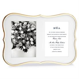 "-GOLD DOUBLE 5X7"" INVITATION FRAME. 13.5"" LONG, 9"" TALL. GOLDPLATED ZINC ALLOY. BREAKAGE REPLACEMENT AVAILABLE."