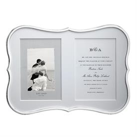 "-SILVER DOUBLE 5X7"" INVITATION FRAME. 13.5"" LONG, 9"" TALL. SILVERPLATED ZINC ALLOY. BREAKAGE REPLACEMENT AVAILABLE."