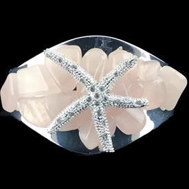 -PINK SEA GLASS & SMALL STARFISH CUFF BRACELET