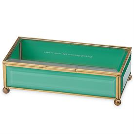 "-,TURQUOISE JEWELRY BOX. 'WHEN IN DOUBT, ADD SOMETHING SPARKLING'. 8"" LONG"
