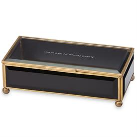 "-BLACK JEWELRY BOX. 'WHEN IN DOUBT, ADD SOMETHING SPARKING'. 8"" LONG"