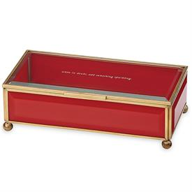 "-RED JEWELRY BOX. 'WHEN IN DOUBT, ADD SOMETHING SPARKLING'. 8"" LONG"