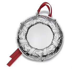 "_5th Edition Engravable Ornament Silver Plated (Wreath Theme), Anniversary Edition 3.5"" Wide. MSRP $75.00"