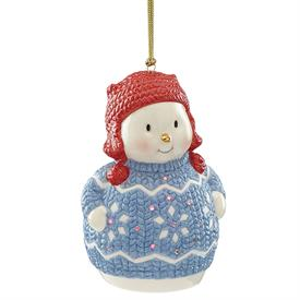 "_LIT CHRISTMAS SWEATER SNOWMAN ORNAMENT. 4.75"" TALL. LED LIGHT & BATTERIES INCLUDED. MSRP $50.00"