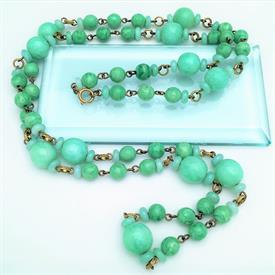",LONG FLAPPER STYLE 'PEKING' CZECH GLASS BEAD NECKLACE. 46"" LONG. ART DECO ERA, CA. 1920'S"