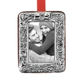 "_Poinsettia Picture Frame Sterling Silver Ornament made in Italy by Reed & Barton Height 3"" MSRP $100 Marked Down 12-6-17"