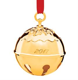 ",Holly Bell Gold Plated Year 2017 Ornament made by Reed & Barton in USA Height 3.5"" MSRP $60 Stock# 875014 Marked down from $50 12-6-17"