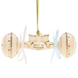 "_2017 BABY'S 1ST RATTLE ORNAMENT. 4.25"". MSRP $60.00"