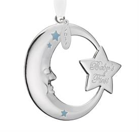 "_Blue Moon Baby's 1st Christmas Silver Plated Ornament by Reed & Barton Dated Year 2017 Height 2.75"" MRSP $25 Stock #875066"