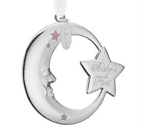 """_Pink Moon Baby's 1st Christmas Silver Plated Ornament by Reed & Barton Dated Year 2017 Height 2.75"""" MSRP $25 Stock# 875067"""