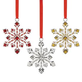 "_Jeweled Snowflake Ornaments Set of 3 made by Reed & Barton Produced in 2017 Height 3.125"" MSRP $100  marked down 12-6-17"