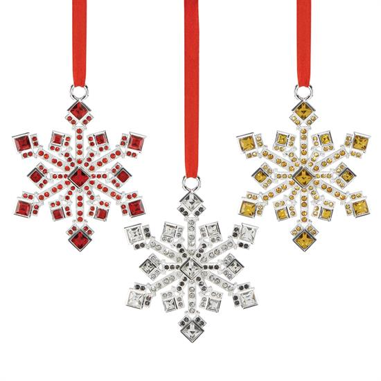 """Reed & Barton Jeweled Snowflake Ornaments Set of 3 made by Reed & Barton Produced in 2017 Height 3.125"""" MSRP $100  marked down 12-6-17"""