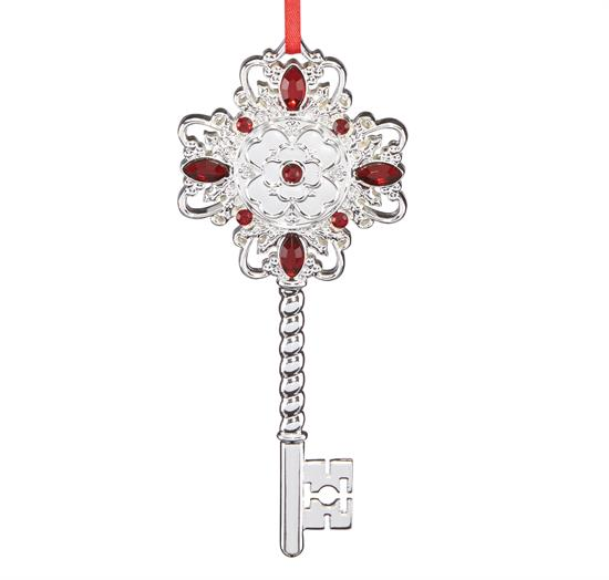 "Reed & Barton Key Ornament Holly Berry Theme bejeweled in red stones made of silver plate by Reed & Barton Height 4.5"" MSRP $30 Marked Down 12-6-17"
