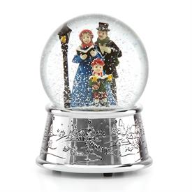 """_Caroler's Village Snowglobe Plays """"Deck the Halls"""" Height 5.5"""" made by Reed & Barton Silver Plated Base MSRP $50 Stock #875196"""