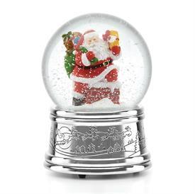 "_Rooftop Santa Snowglobe silver plated by Reed & Barton -Plays ""Up on the Housetop"" Height 5.5"" MSRP $50 Stock #875197"